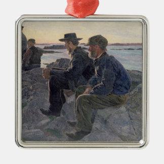 En las rocas en Fiskebackskil, 1905-6 Adorno Navideño Cuadrado De Metal