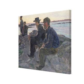 En las rocas en Fiskebackskil, 1905-6 Lona Envuelta Para Galerias
