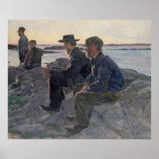 En las rocas en Fiskebackskil, 1905-6 Póster