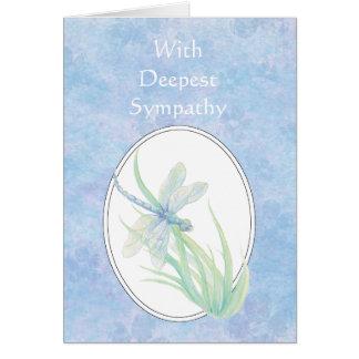 En libélula azul hermosa de la condolencia más pro tarjeta de felicitación