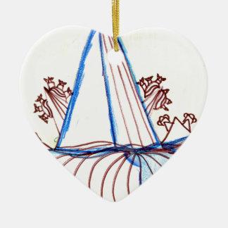 En los aviones de la danza del modelo adorno de cerámica en forma de corazón