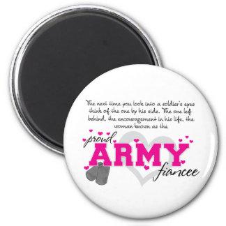 En los ojos de un soldado - prometido orgulloso de imán redondo 5 cm