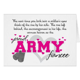 En los ojos de un soldado - prometido orgulloso de tarjeta de felicitación