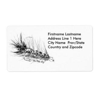 En marcha - mosca de la pesca del pescador etiqueta de envío
