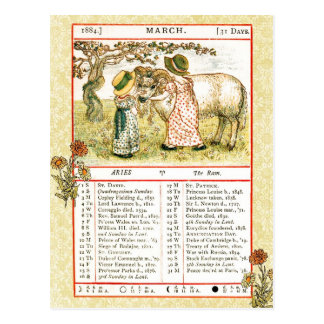 En marzo de 1884 almanaque.  Aries, el espolón Tarjeta Postal