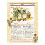 En mayo de 1884 almanaque.  Géminis, los gemelos Tarjeta Postal