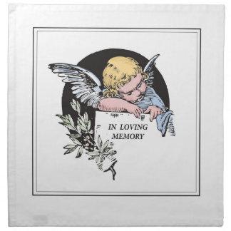 En memoria cariñosa, ángel de la conmemoración, servilletas imprimidas