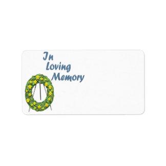 En memoria cariñosa etiqueta de dirección