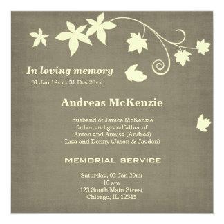 """En memoria cariñosa invitación 5.25"""" x 5.25"""""""