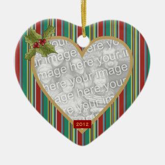 En memoria cariñosa ornamento rayado del corazón ornamentos de navidad