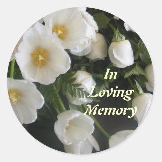 En memoria cariñosa etiqueta redonda