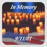 En memoria de 9/11 pegatina cuadrada