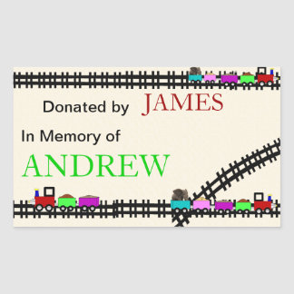 En memoria de Bookplates donados del tren Rectangular Pegatinas