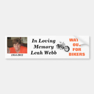 En memoria de Leah Webb Pegatina De Parachoque