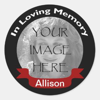 En memoria de los pegatinas negros de la foto etiqueta redonda