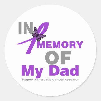 En memoria de mi cáncer pancreático del papá pegatina redonda