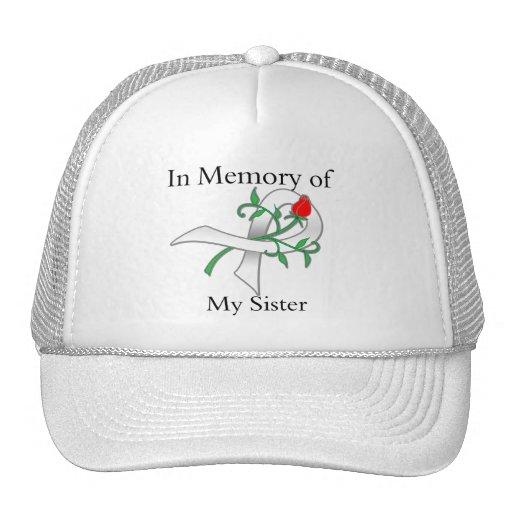 En memoria de mi hermana - cáncer de pulmón gorros bordados