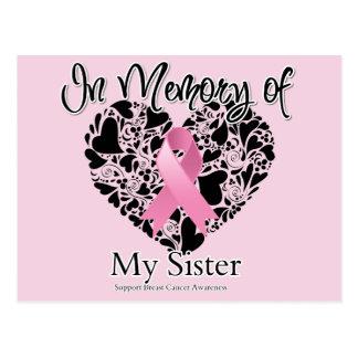 En memoria de mi hermana - tributo del cáncer de p tarjetas postales