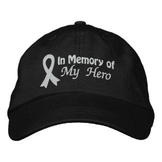 En memoria de mi héroe - cáncer de pulmón gorras bordadas