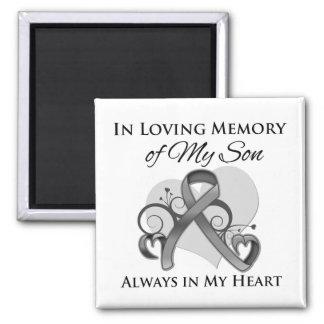En memoria de mi hijo - cáncer de cerebro imán cuadrado
