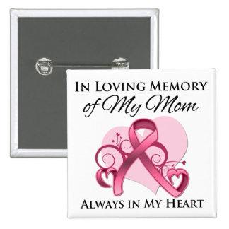 En memoria de mi mamá - cáncer de pecho pin cuadrada 5 cm