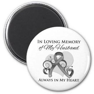 En memoria de mi marido - cáncer de cerebro imán redondo 5 cm