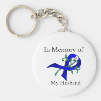 En memoria de mi marido - cáncer de colon llavero redondo tipo pin
