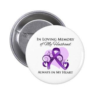 En memoria de mi marido - cáncer pancreático pin redondo de 2 pulgadas