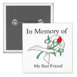 En memoria de mi mejor amigo - cáncer de pulmón pin cuadrada 5 cm
