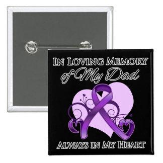 En memoria de mi papá - cáncer pancreático pin cuadrado