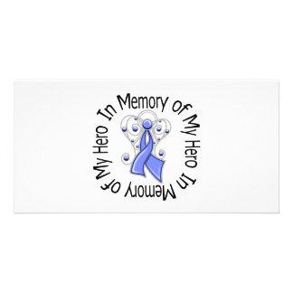 En memoria de mis alas del ángel del cáncer de est tarjeta fotográfica personalizada