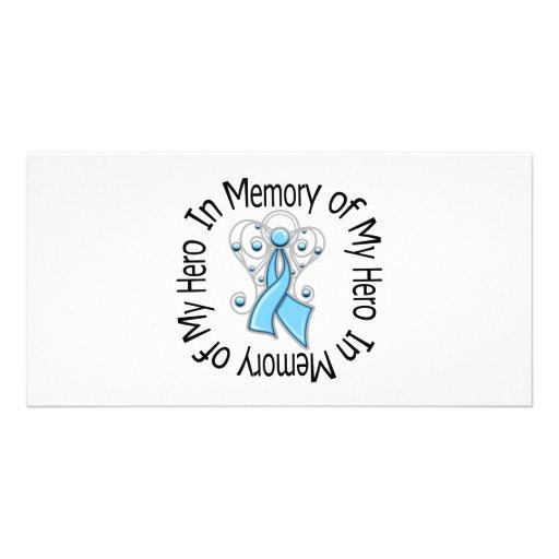 En memoria de mis alas del ángel del cáncer de pró tarjeta fotográfica