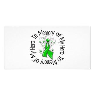 En memoria de mis alas del ángel del cáncer del ri tarjeta personal con foto