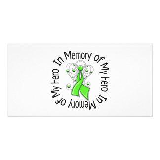 En memoria de mis alas del ángel del linfoma del h tarjeta personal con foto
