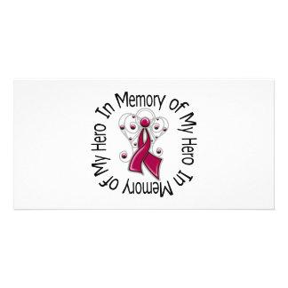 En memoria de mis alas del ángel del mieloma múlti tarjeta fotografica personalizada
