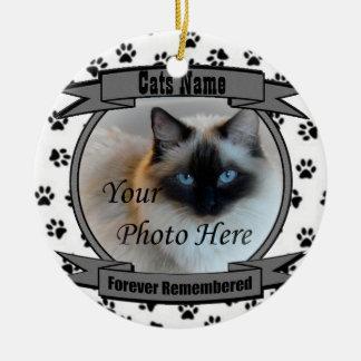 En memoria de su gato recordado para siempre - ornamentos de navidad