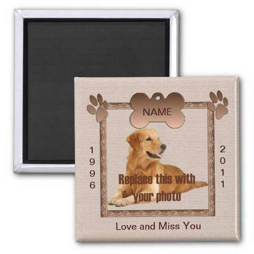 En memoria de su perro imán para frigorifico