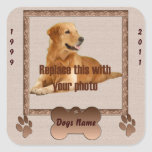 En memoria de su perro calcomania cuadrada personalizada