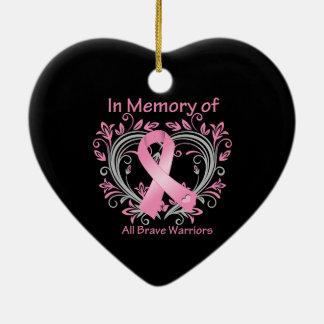En memoria de todo el cáncer de pecho valiente de adorno de cerámica en forma de corazón