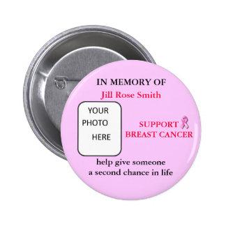 EN MEMORIA del botón del cáncer de pecho Pin Redondo De 2 Pulgadas