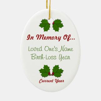 En memoria - del ornamento oval 2-Sided del acebo Ornamentos De Reyes