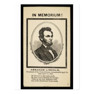 ¡En Memoriam Abraham Lincoln presidente del Uni Tarjeta Postal