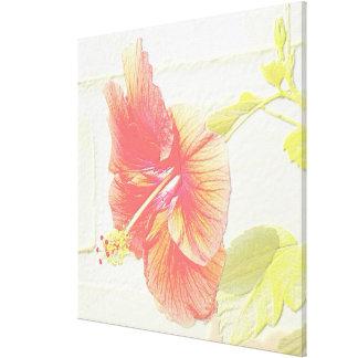 En mi jardín, flor grabada en relieve del hibisco impresión en lienzo estirada