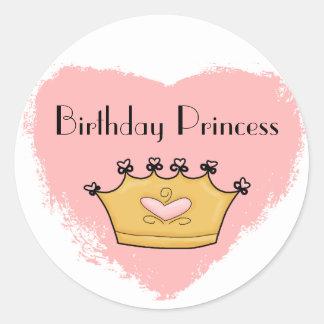 En mi pegatina rosado de la princesa feliz cumplea