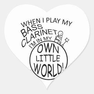 En mi propio pequeño clarinete bajo del mundo calcomanía de corazón personalizadas