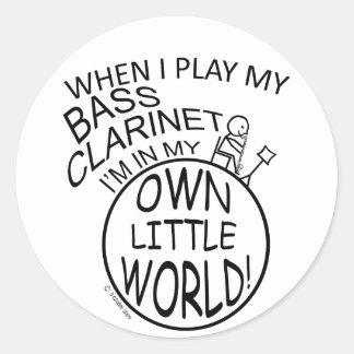 En mi propio pequeño clarinete bajo del mundo pegatina redonda