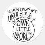 En mi propio pequeño Ukulele del mundo Etiqueta Redonda