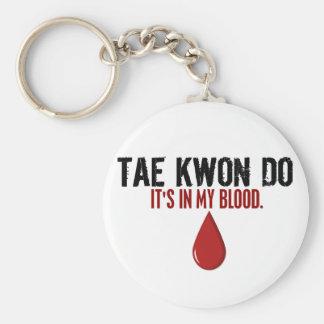En mi sangre el TAEKWONDO Llavero Redondo Tipo Pin