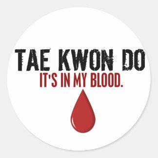 En mi sangre el TAEKWONDO Pegatina Redonda