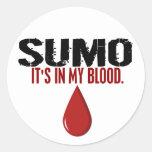 En mi SUMO de la sangre Pegatinas Redondas